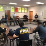 Visiting Students gather to learn more about construction trades