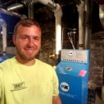 Mike in boiler room at Union Lutheran Church.